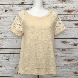 Lou & Grey Short Sleeve Lace & Raglan Sweatshirt